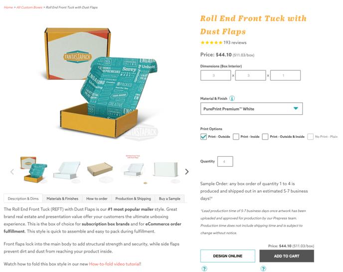 fantastapack custom box sample order
